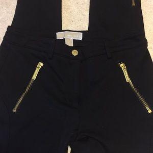 MICHAEL KORS BLACK MOTO DRESS LEGGINGS